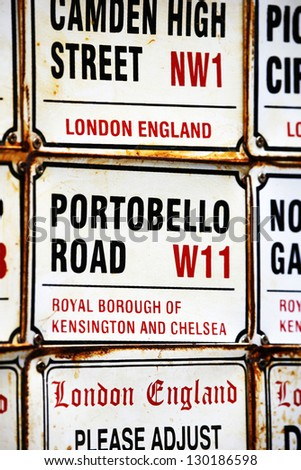 London Street Sign, Portobello Road, Borough of Kensington and Chelsea