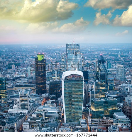 London. Stunning aerial view of modern skyline at dusk. - stock photo