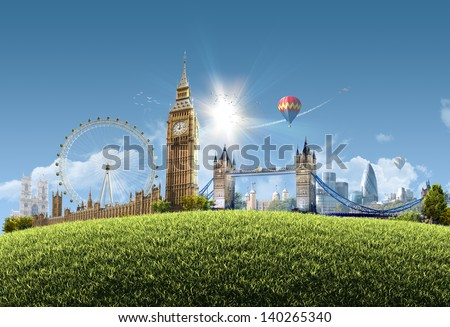 London summer park - photographic composition of famous landmarks of London, UK - sunny cityscape background with grassy hill and clear blue sky - great for posters, cards or banners - stock photo