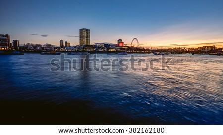 London sunset above river Thames, England