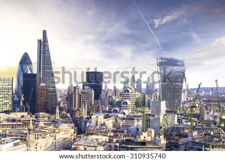 London sunset, view on business modern district. - stock photo