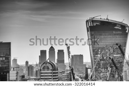 London sunset. View on business modern district. - stock photo