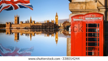 London symbols with BIG BEN and red PHONE BOOTHS in England, UK - stock photo