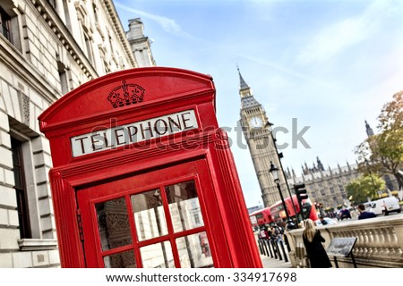 London telephone booth in front of  big ben and the houses of parliament in England - stock photo