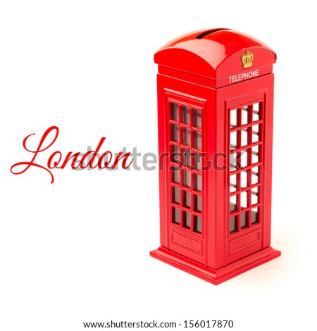 London telephone booth money box isolated on white background - stock photo