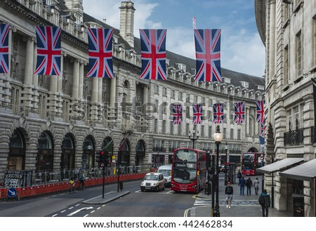 LONDON,THE UK-CIRCA MAY 2016: England flags at Regent street