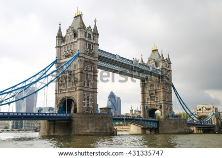 London Tower Bridge on Thames River in London.