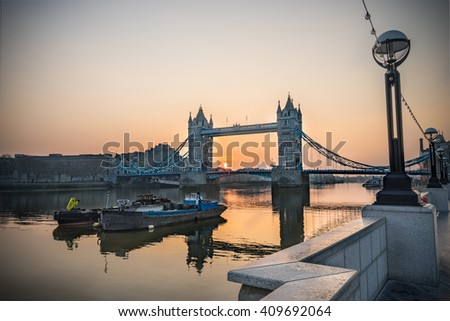 London Tower Bridge viewed from City Hall side of the Thames river in London,England - stock photo