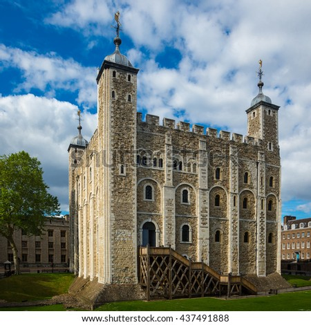 London tower with blue sky and white cloud - stock photo