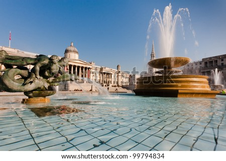 London, Trafalgar square with National Gallery and fountains - stock photo