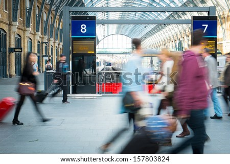 London travelers movement in tube train station - stock photo