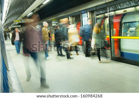 London tube train station movement  - stock photo