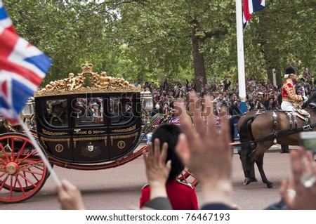 LONDON, UK - APRIL 29: A coach at Prince William and Kate Middleton wedding, April 29, 2011 in London, United Kingdom - stock photo