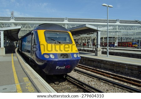 LONDON, UK - APRIL 12, 2015:  A First Great Western Intercity 125 train waiting at a platform at London's Waterloo station during engineering works.  The train normally terminates at Paddington. - stock photo