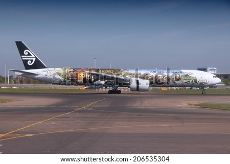 LONDON, UK - APRIL 16, 2014: Air New Zealand Boeing 777 with Hobbit movie livery after landing at London Heathrow airport. Air New Zealand carried 13.4 million passengers in 2013. - stock photo