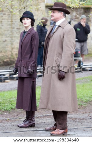 LONDON, UK - APRIL 24:Cast of Downton Abbey are spotted filming scenes in London on the April, 2014 in London, UK - stock photo