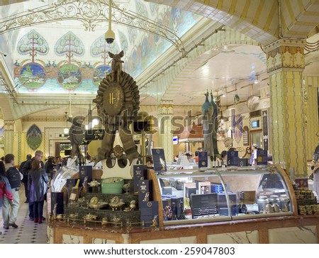 LONDON, UK - APRIL 17, 2014: Caviar counter in the famous Harrods department store.
