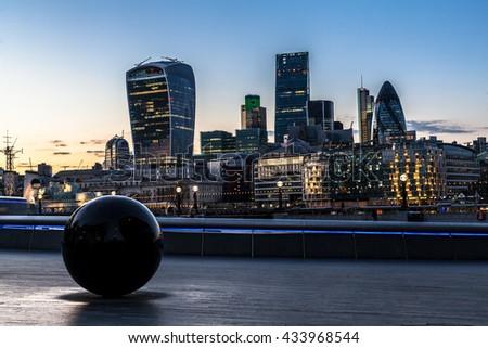 LONDON, UK - APRIL 17 2016: City of London on the evening - stock photo