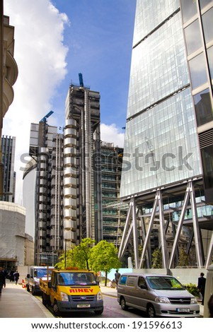 LONDON, UK - APRIL 24, 2014: City of London one of the leading centres of global finance, headquarters for leading banks, insurance, stock exchange, media, law and other businesses.