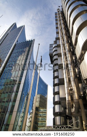 LONDON, UK - APRIL 24, 2014: City of London one of the leading centres of global finance, headquarters for leading banks, insurance, stock exchange, media, law and other businesses. - stock photo
