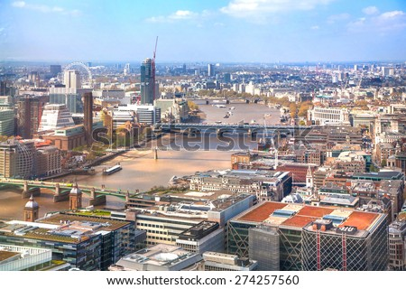 LONDON, UK - APRIL 22, 2015: City of London panorama. Westminster side - stock photo