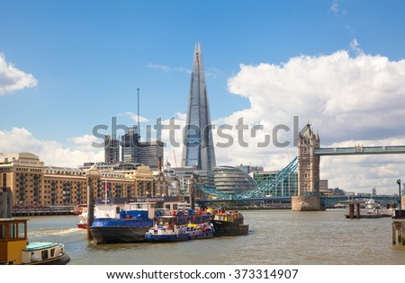 LONDON, UK - APRIL 22, 2015:  City of London view and River Thames