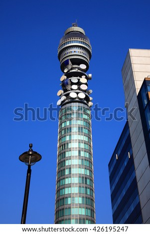 London, UK, April 30 2011 - Communication Tower in London built in 1965 and was originally called The Post Office Tower