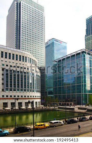 LONDON, UK - APRIL 24, 2014: Modern architecture of Canary Wharf the leading centre of global finance