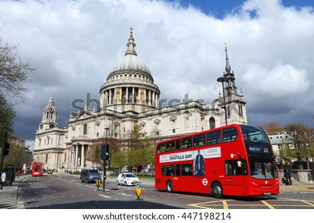 LONDON, UK - APRIL 23, 2016: People ride a city bus in London, UK. Transport for London (TFL) operates 8,000 buses on 673 routes. - stock photo