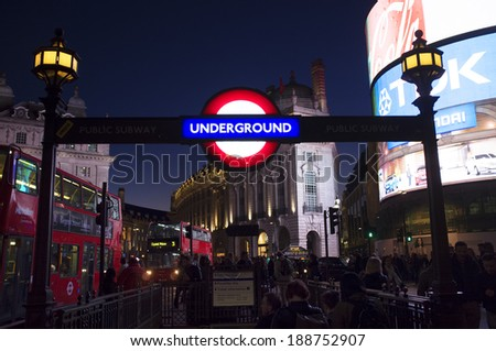 LONDON, UK - APRIL 16, 2014: Piccadilly Circus underground station.