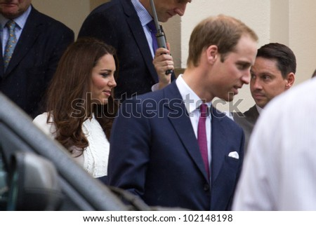 LONDON, UK - APRIL 27: Prince William and Kate Middleton leave the Royal Society after a princes trust meeting on the APRIL 27, 2012 in London, UK - stock photo
