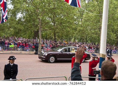 LONDON, UK - APRIL 29: Queen Elizabeth's Bentley at Prince William and Kate Middleton wedding, April 29, 2011 in London, United Kingdom - stock photo