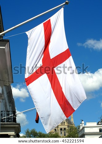 London, UK, April 26 2009 - St George's Cross flag of England