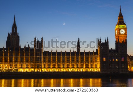 LONDON, UK - APRIL 20TH 2015: A dusk-time view of the Houses of Parliament in London on 20th April 2015.