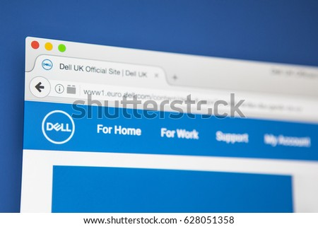 LONDON, UK - APRIL 25TH 2017: The homepage of the official website for Dell, the American computer and IT development company, on 25th April 2017.