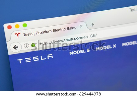 LONDON, UK - APRIL 27TH 2017: The homepage of the official website for Tesla, the major American automaker, on 27th April 2017.