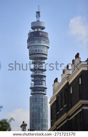 LONDON, UK - APRIL 22: The emblematic BT Tower was completed in the 1960s, and was the tallest building in London until 1980. April 22, 2015 in London. - stock photo