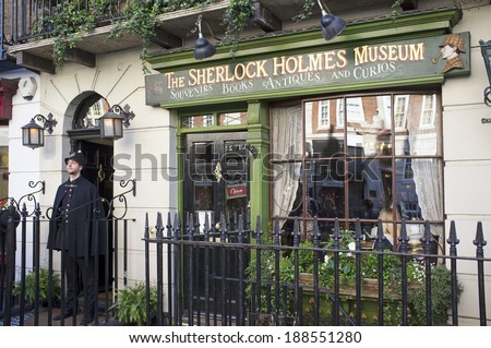 LONDON, UK - APRIL 15, 2014: The Sherlock Holmes museum is located on Baker Street and is dedicated to the fictional detective Sherlock Holmes. - stock photo