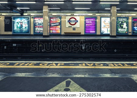 LONDON, UK - APRIL 13, 2015: View of Cannon Street underground station in London. - stock photo