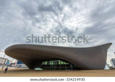 LONDON, UK - AUG 25, 2015: London Aquatics Centre in Queen Elizabeth Olympic Park, London, United Kingdom. It was designed by Pritzker Prize-winning architect Zaha Hadid in 2004. - stock photo