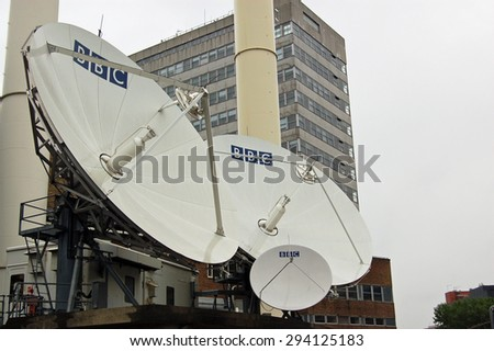 LONDON, UK - AUGUST 23, 2007: A cluster of satellite dishes outside BBC Television Centre in Shepherd's Bush, West London.