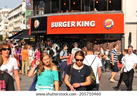LONDON, UK - AUGUST 2012: Burger King fast food restaurant in London. Burger King is a global chain of hamburger fast food restaurants headquartered in Miami, Florida, United States. - stock photo
