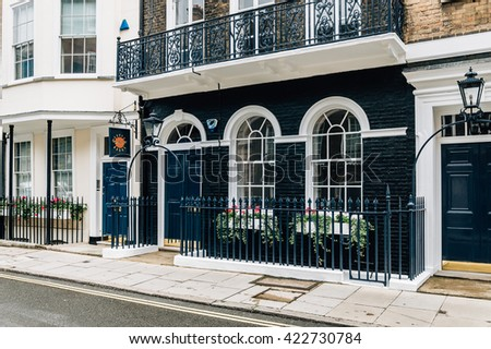 LONDON, UK - AUGUST 24, 2015: Elegant apartment house in London's luxury neighborhood: Pall Mall and St. James street