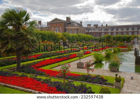 LONDON, UK - AUGUST 16, 2014: Kensington palace and gardens - stock photo