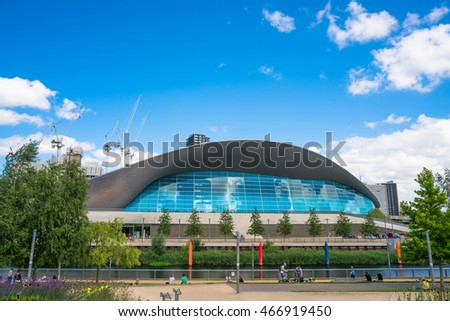 LONDON, UK - AUGUST 7, 2016: London Aquatics Centre in Queen Elizabeth Olympic Park, London,UK. The building was designed by Zaha Hadid Architects and now open to the public in Stratford, London, UK.
