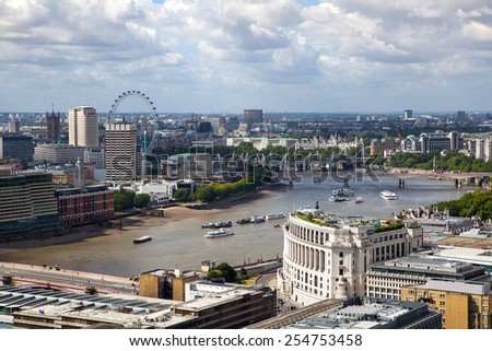 LONDON, UK - AUGUST 9, 2014. London's panorama view from St. Paul cathedral. - stock photo