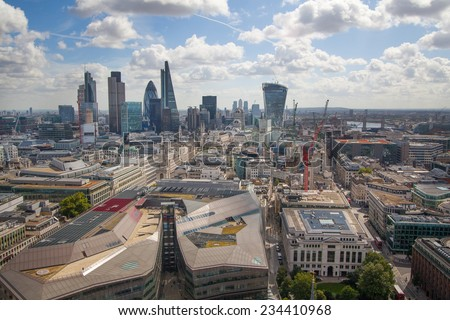 LONDON, UK - AUGUST 9, 2014 London view. City of London one of the leading centres of global finance this view includes Tower 42, Lloyds bank, Gherkin building and other - stock photo
