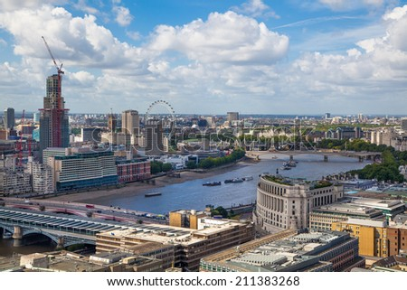 LONDON, UK - AUGUST 9, 2014 London view. City of London one of the leading centres of global finance - stock photo