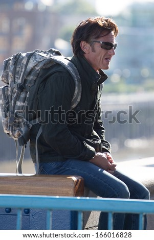 LONDON, UK - August 9th: Sean Penn seen out and about in London on the Aug 9, 2013 in London, UK - stock photo