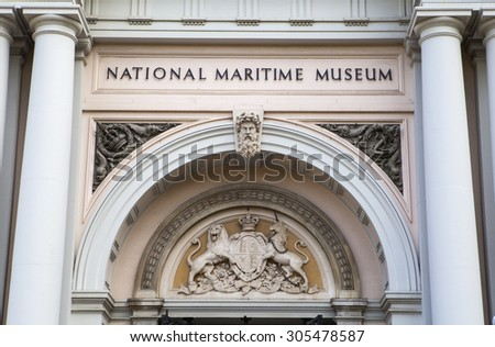 LONDON, UK - AUGUST 7TH 2015: The impressive facade of the National Maritime Museum in Greenwich, London on 7th August 2015.